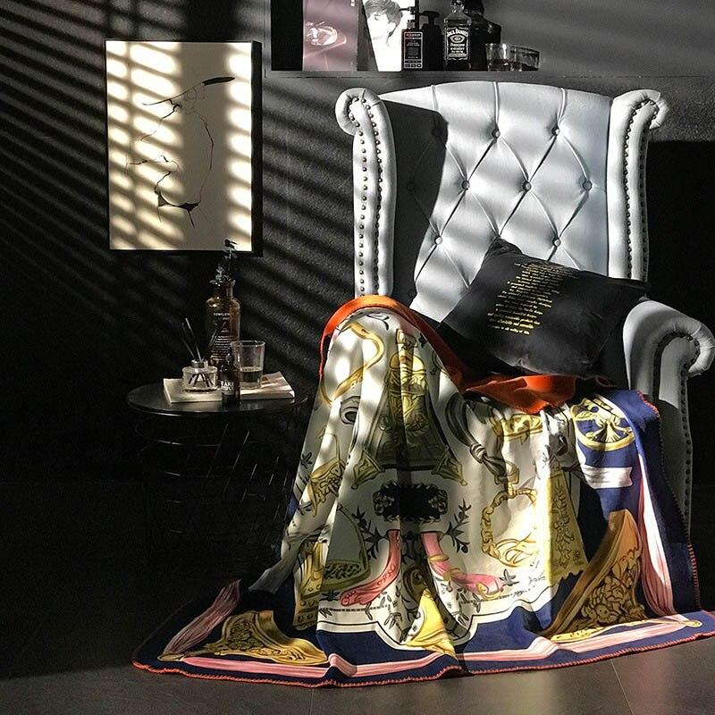 Moderna de lujo de doble capa de manta suave sofá cubierta hogar decorativo de punto a cuadros de viaje peso gravedad mantas manta gruesa-in Mantas from Hogar y Mascotas    2