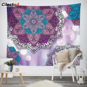 Image 3 - Cilected India Mandala Tapestry Gobelin Hanging Wall Floral Tapestry Fabric Polyester/Cotton Hippie Boho Bedspread Table Cloths