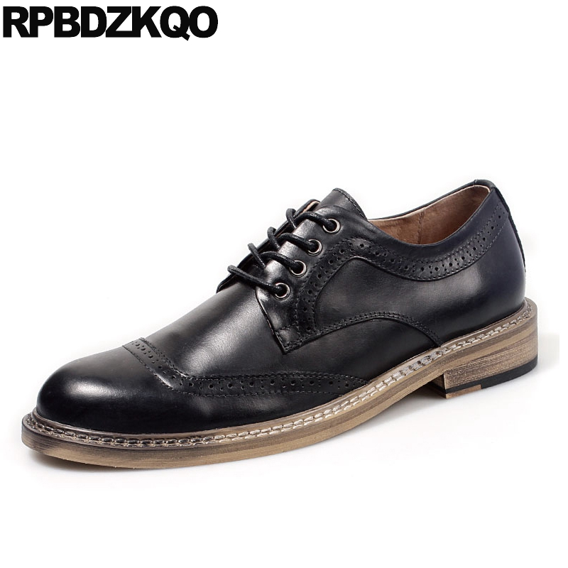 Noir européen véritable cuir Oxfords peau de vache italie haute qualité italien hommes chaussures décontracté 2017 printemps mode élégant automne
