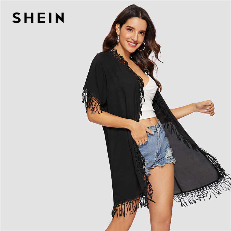 d1ce38e1fe Detail Feedback Questions about SHEIN Solid Fringe Trim Open Front Semi  Sheer Black Kimono Cardigan Women Summer Casual Vacation Longline Beach  Chiffon ...