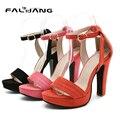 2017 Nueva Casual Hebilla Correa zapatos de plataforma de Tamaño Grande 11 12 Dulce Punta Redonda tacón Cuadrado de zapatos de las mujeres señoras de la mujer para mujer