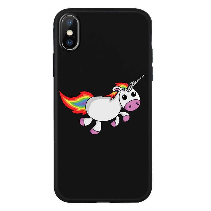 Pour iphone 6 6s Plus 7 8plus Couverture Arc-En-Ciel Licorne portable housse de téléphone Pour iphone X XR XS Noir coque en silicone Z640