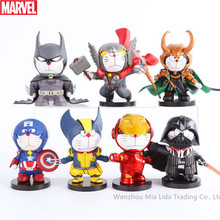 Hasbro Marvel 6pcs/set Raytheon Spider-Man Iron Man DC Justice League Batman Superman Q Edition Decoration Hand Collection