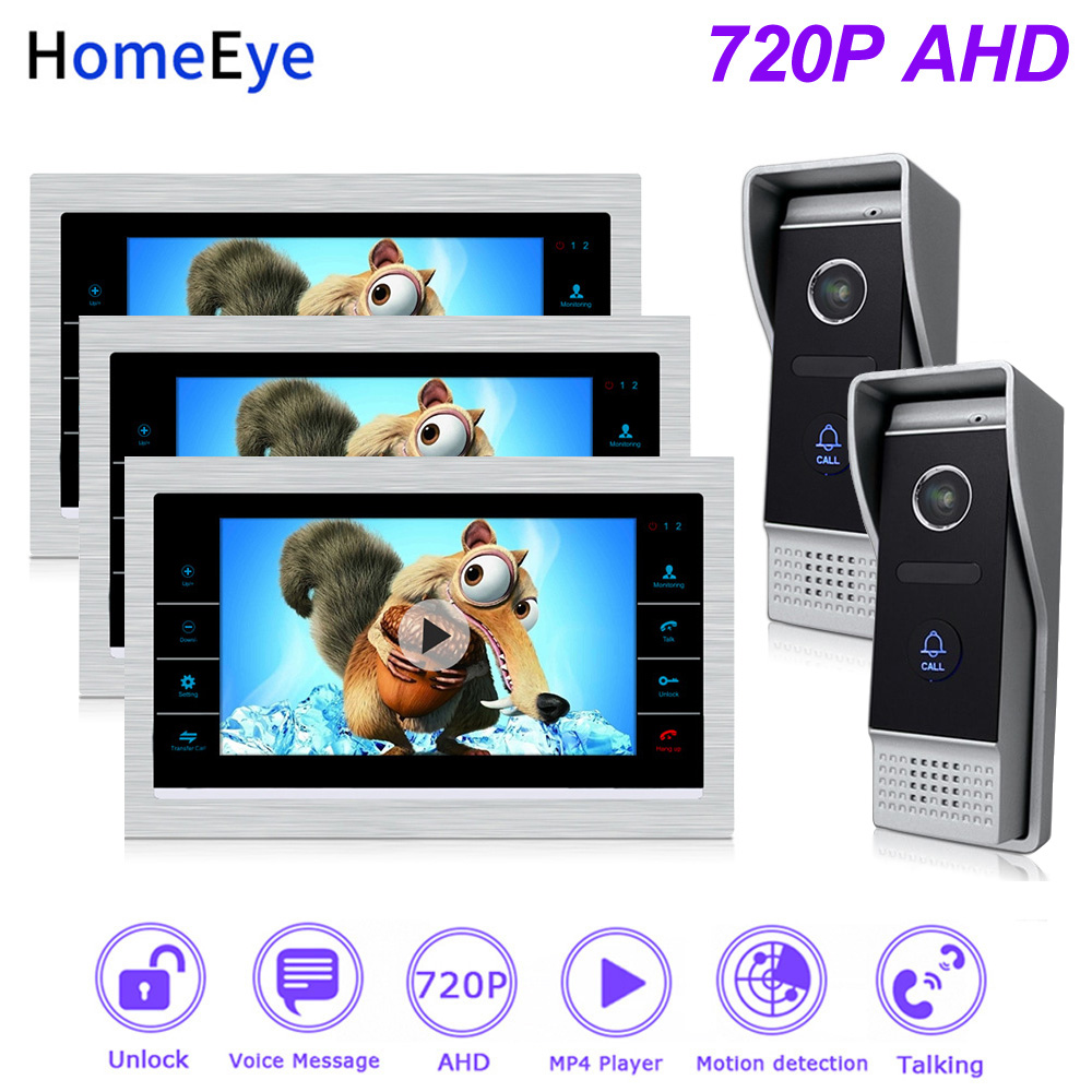 HomeEye 720P HD Video Door Phone Video Intercom 2 Doors Home Access Control System Touch Screen Voice Message Customize Ringtone