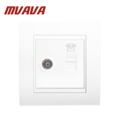 купить MVAVA universal electrical Telephone and Television wall socket,Luxury double port  TV Aerial Socket +  RJ11 TEL wall outlet дешево