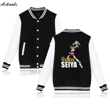 2017 hot Anime Print Gold Saint Seiya Long Winter Jacket Woman Plus Size Clothing Shirts in