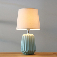 Nordic simple green ceramic table lamp new Chinese style cloth bedroom lighting decoration LED dimmable E27 lighting