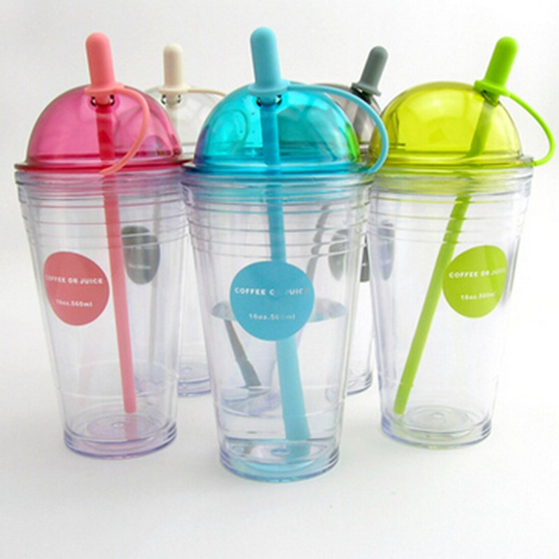 acrylic plastic insulated tumbler/mugs with straw and Dome