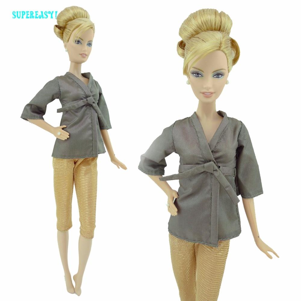 Модная повседневная одежда домашнее платье кукольный костюм Спальня пижамы блузка Брюки для девочек одежда для сна для Барби FR Кукла Игруш...