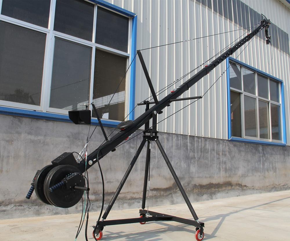 Grue à flèche 8 m 2 axes ctagon tête inclinable portable caméra grue dslr avec dolly et moniteur approvisionnement d'usine