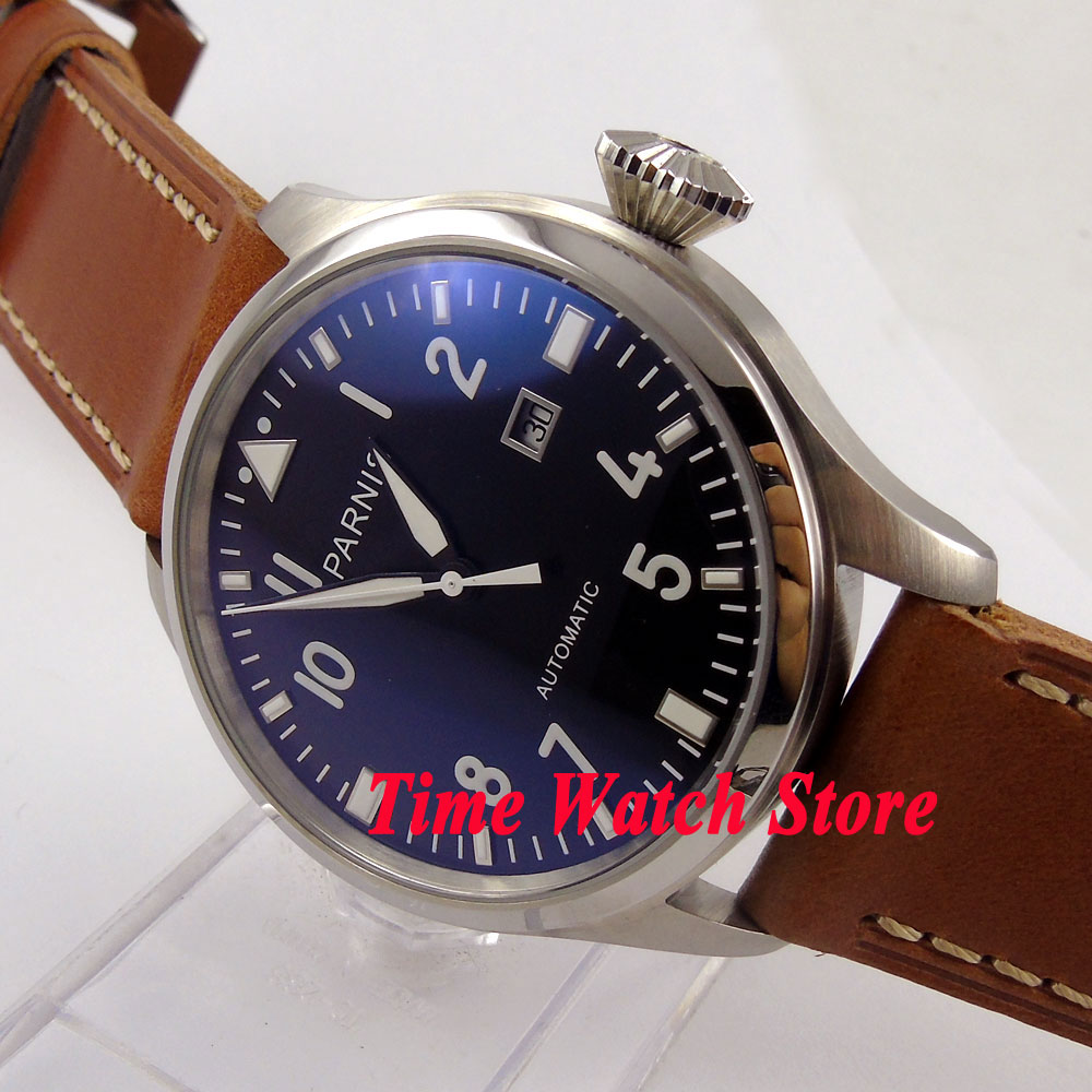 47mm Parnis Black dial date screw-in crown Luminous Automatic movement Men's watch wristwatch P38 все цены