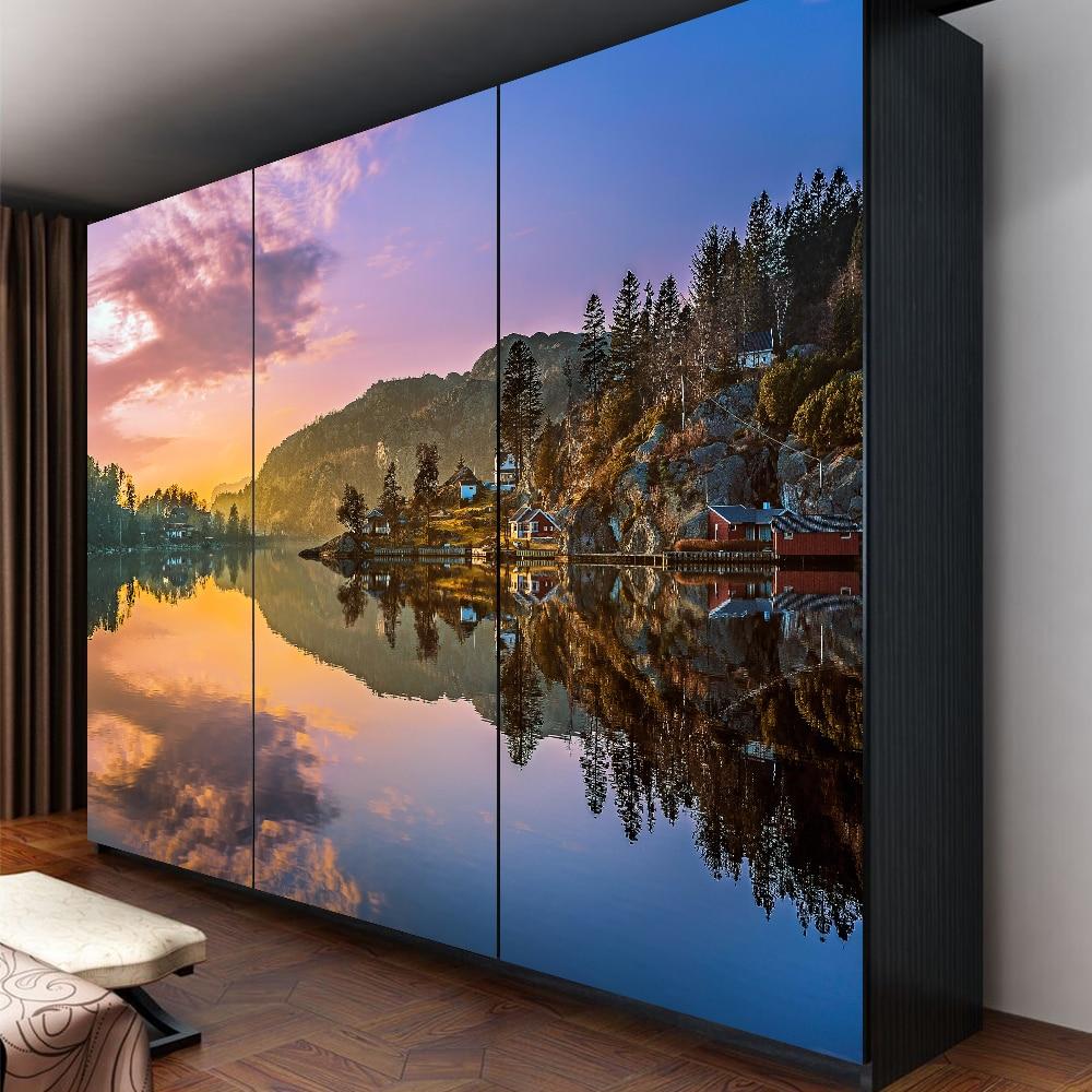 Yazi kundengebundene größe pvc tapete wandbild schlafzimmer kleiderschrank schiebetüren schranktür aufkleber fensterglas film 1