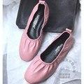 Тонкий Овчины Простой Низкого фасадом Гибкая Мягкой Подошве Обувь Для Женщин Чистый Цвет Стиль Женщины Плоские Туфли Повседневная Обувь женщины