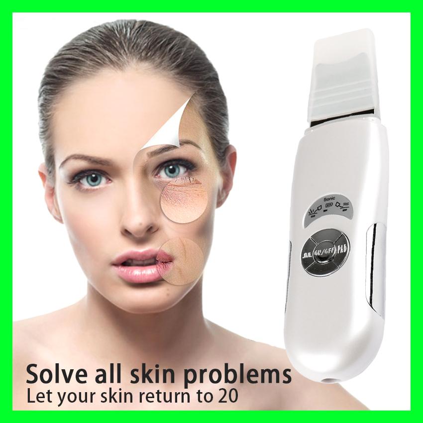 Profundamente Limpiador Ultrasónico de La Piel Limpieza Facial máquina Cara exfoliante pala Herramienta de La Belleza Facial dispositivo de eliminación de puntos negros