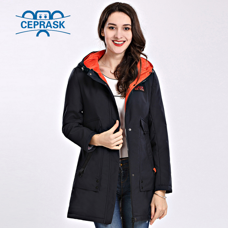 2018 Spring Autum New Women's Coat Windproof Thin Women Parka Long Plus Size Hooded Padded Warm Cotton Jackets CEPRASK Hot Sale