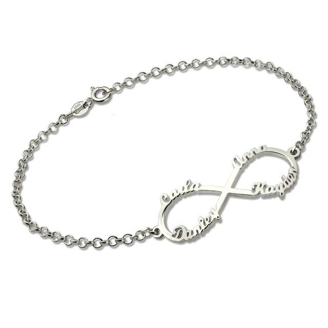 Infinity 4 Names Bracelet Customized Sterling Silver Name Bracelet for Women Infinity Symbol Mother's Bracelet