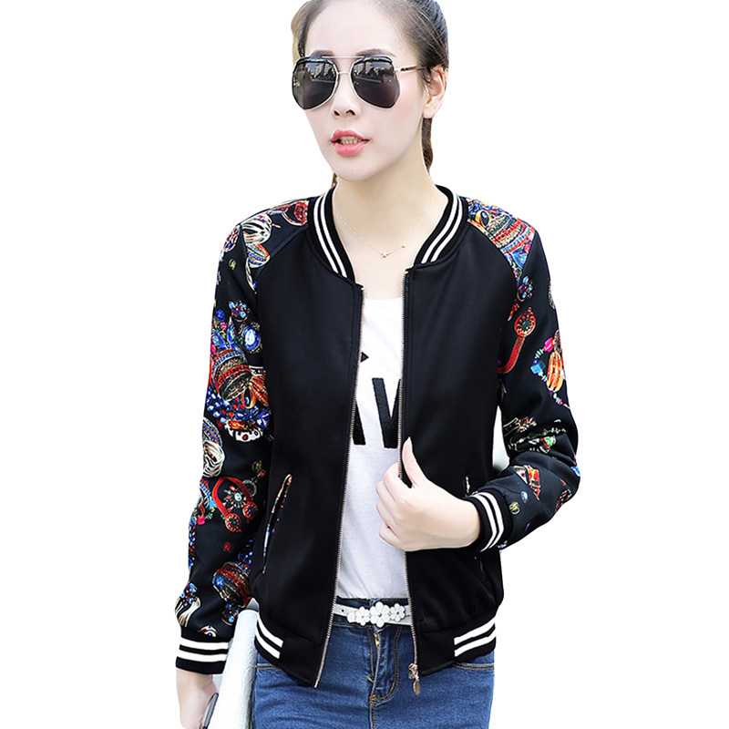 Floral Print Bomber   Jacket   Autumn Spring Women Baseball Souvenir   Basic     Jackets   Female Casual Loose 2017 Black Soft YP0277