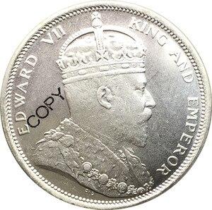 Малайские проливы, 1 долл., медная монета с посеребренным покрытием Эдварда VII 1904