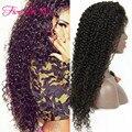 200 de Alta densidad pelucas Delanteras del Cordón Rizado humano virginal Peruana del pelo Sin Cola Llena Del Cordón pelucas de pelo humano con el pelo del bebé
