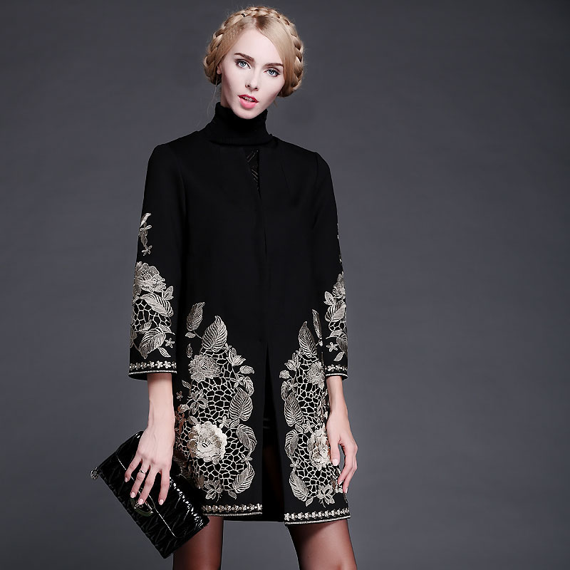 Hot Sale S-3XL New High Quality 2016 Winter Runway Coat Women's Retro Golden Thread Embroidery Woolen Black Coat Overcoat