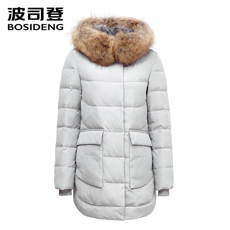 BOSIDENG зимних куртке толстых вниз пальто средних давно вниз и большой карман пальто большой меховой воротник пальто выпуклых снизу b1501176