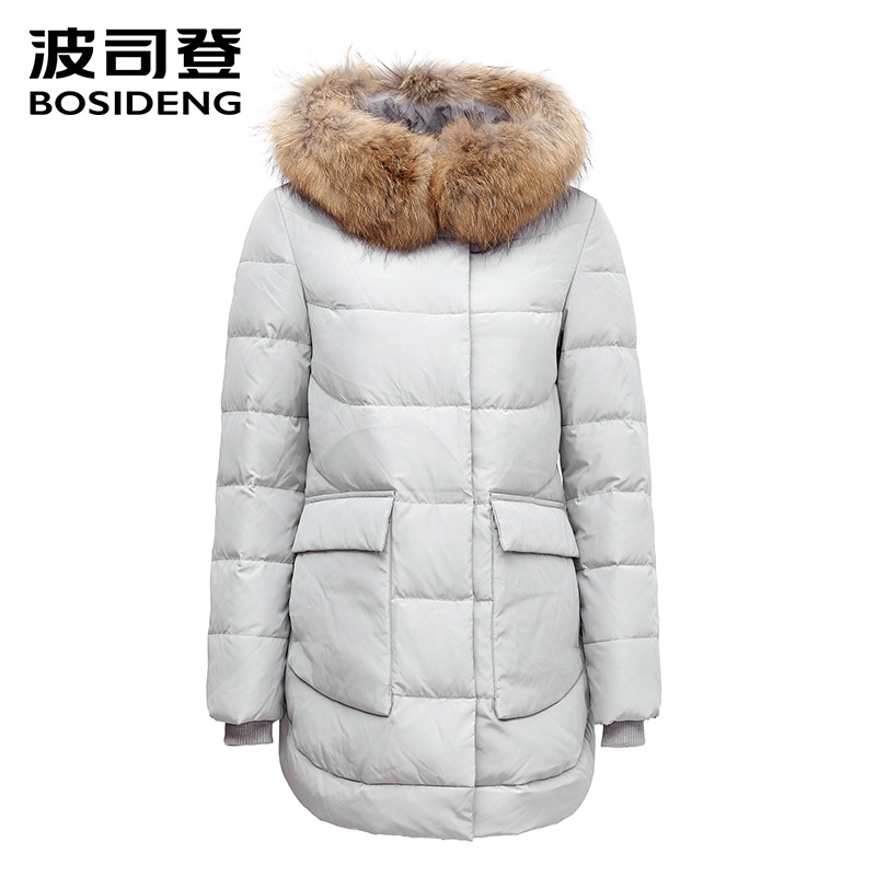 BOSIDENG women winter jacket thick   down     coat   medium-long   down     coat   real fur collar hooded big pocket convex warm   coat   B1501176