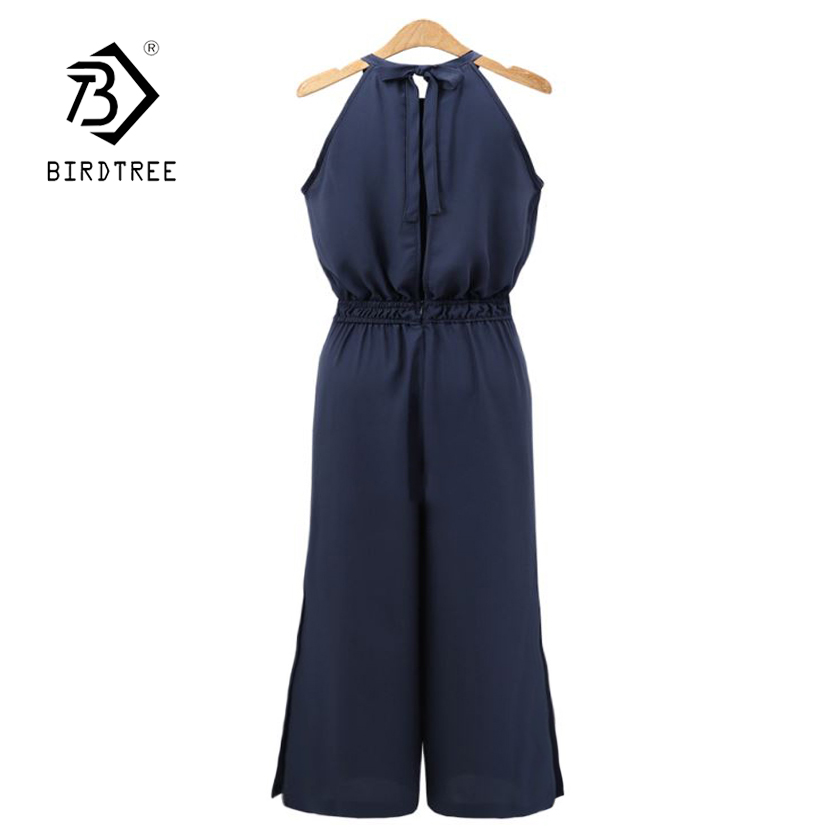 Women's Clothing Brilliant New Women Solid Sleeveless Bow Lace Up Halter High Waist Blackless Jumpsuit Lady Wide Leg Pants Female 4xl Plus Size Hot S87302f