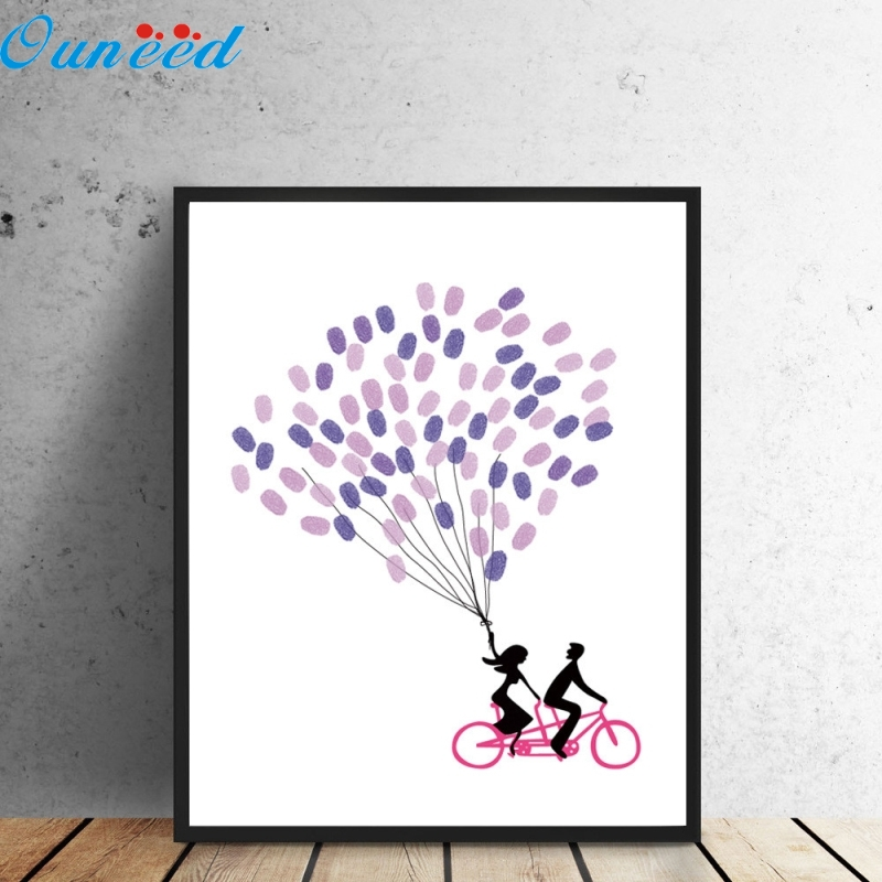 Ouneed Happy Canvas Tree Fingerprint Guest Book Gift Decoration For Wedding Birthday Party 1 Piece 30x42cm personalize wedding tree guest book alternative wedding tree fingerprint guestbook thumbprint books get 6 ink pads free