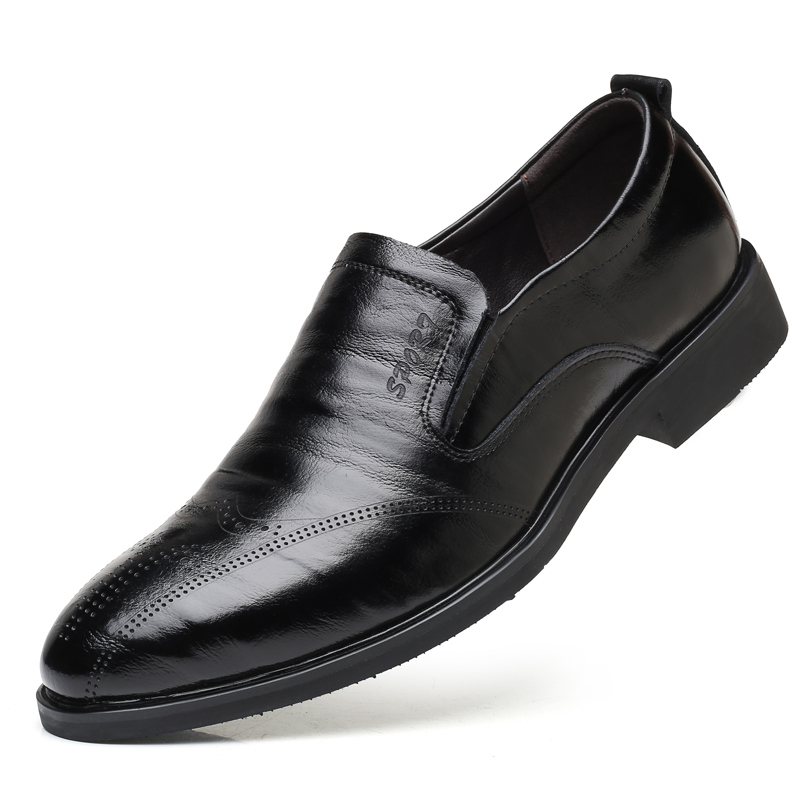 48 on Hommes Taille Robe Noir Chaussures Noir Brun Yween Mode Grande orange Slip De Bullock Rond D'affaires Bout 38 CRnwtq