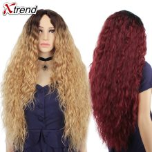 30 inch Synthetic Wig Blonde Red Black Ombre Afro Wigs For Women Long Curly Blond Brown Hair Female Peruca Sale(China)