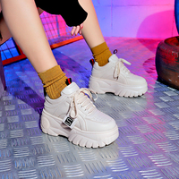 2019 Spring Fashion White Black Platform Sneakers Ladies Causal Shoes Woman Pu Leather Platform Shoes Women Sneakers