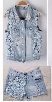 Осенний женский кружевной лоскутный джинсовый жилет с отворотным воротником, верхняя одежда, потертый джинсовый жилет laday для студентов 61803 - Цвет: suit