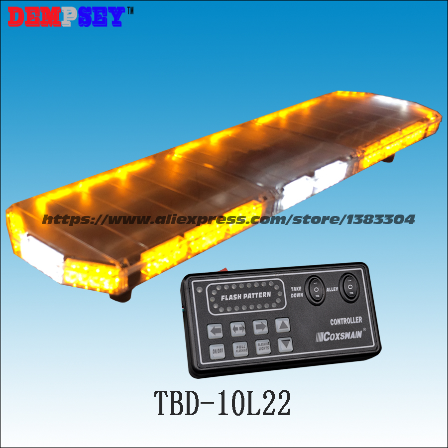 TBD 10L22 LED car Lightbar, amber&white emergency warning light bar ,waterproof, for ambulance/fire truck/police/ vehicle