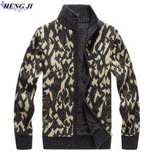 HENG JI Autumn and winter new leisure camouflage zipper knitted cardigan, men's and plush sweater jacket, high quality