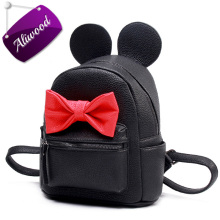 Mickey Backpack 2017 New Female Bag High Quality Pu leather Mini Women Backpack Cute bow Ladies Travel Rucksack Bolsas Feminina