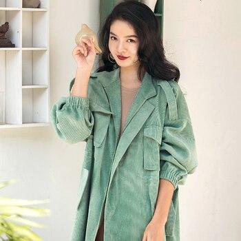 d48f91e47616 VERRAGEE Rahat Kadın Ceket Renkli Bahar Sonbahar 2019 Yeni Varış Elbise  Mavi Yeşil Palto Uzun Trençkot Artı Boyutu
