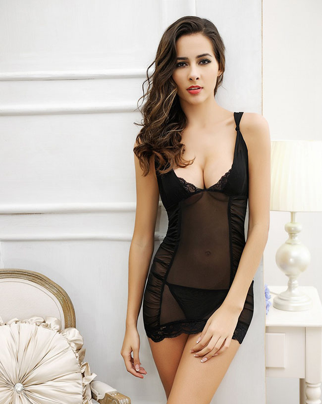 bfbbc5c03 Free Shipping In Stock Japanese Hot Girls WW Com Hot Girl Sex Babydoll  Black Lace Dress Lingerie Sexy Costume Dress Underwear