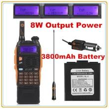3800 mAh Batería Baofeng GT-3TP MarkIII 8 W Dual Band V/UHF Jamón Radio de Dos vías Walkie Talkie transceptor