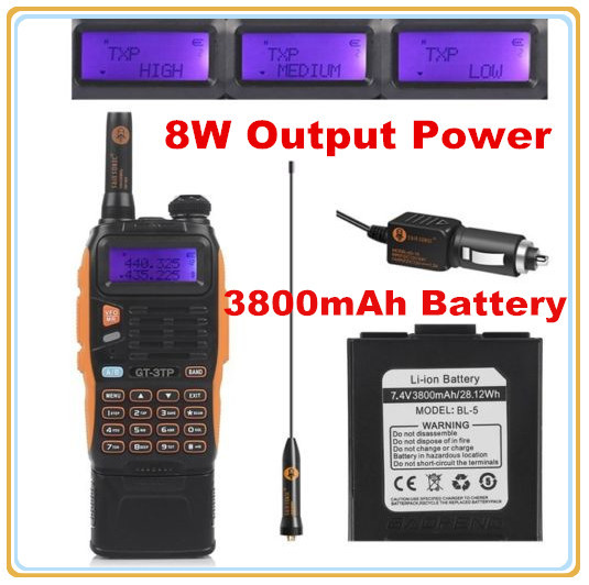 3800mAh Battery Baofeng GT-3TP MarkIII 8W Dual Band VHF UHF Ham Two-way Radio Walkie Talkie Transceiver