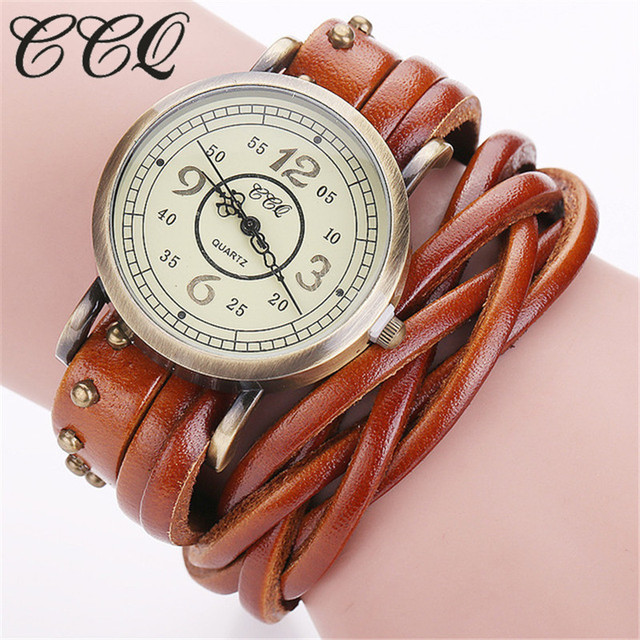 CCQ Brand Fashion Vintage Retro Rivet Braided Genuine Leather Bracelet Watch Cas