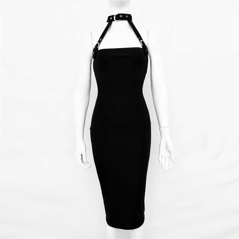 Женское клубное платье миди NewAsia Garden, привлекательное летнее платье-халтер, элегантное праздничное облегающее платье, черные длинные платья больших размеров