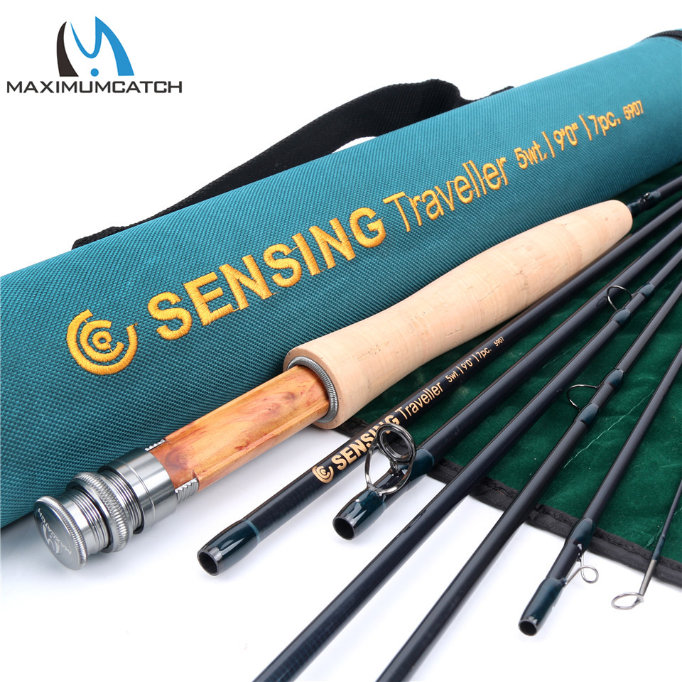 Maximumcatch New Fly Fishing Rod 9ft 5wt Sensing Traveler 7pcs Medium FAST ACTION Carbon fiber Fly rod with Cordura tube aventik fly fiberglass rod ultra light medium action rod 4pcs cordura rod tube fly fishing rods special introudctory sale