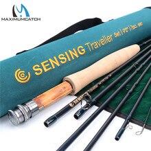 Maximumcatch New Fly Fishing Rod 9ft 5wt Sensing Traveler 7pcs Medium FAST ACTION Carbon fiber Fly rod with Cordura tube