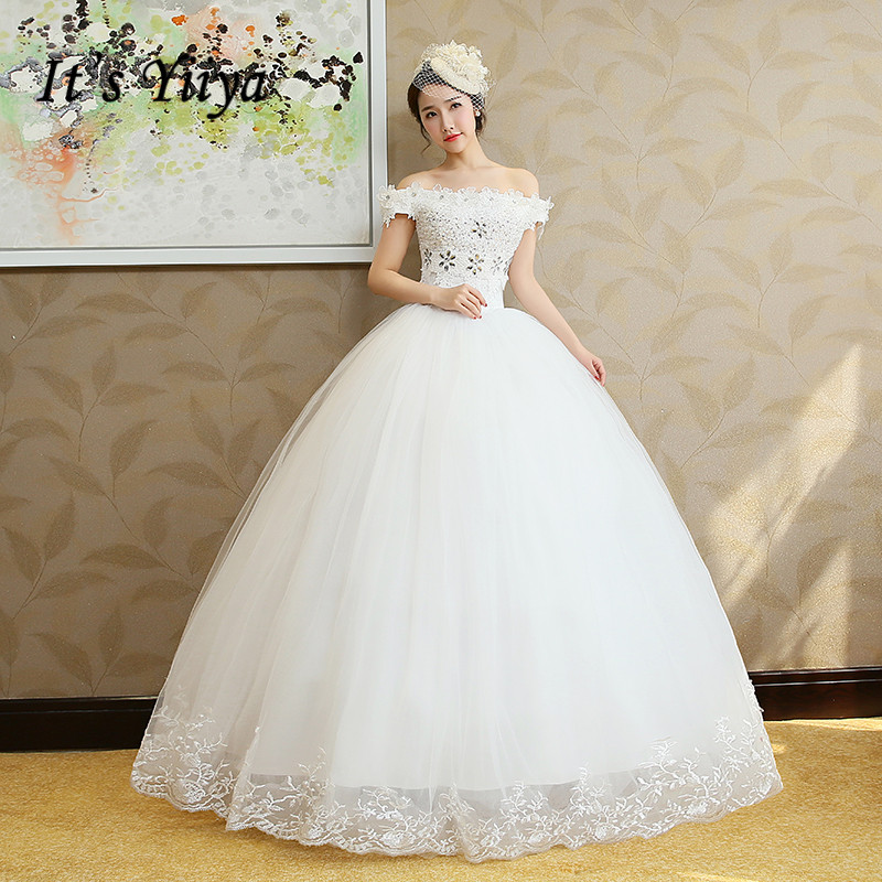 It's YiiYa Wedding Dress Boat Neck Lace Up Bridal Ball Gown Shining Crystal Floor Length Sleeveless Wedding Dresses HS209