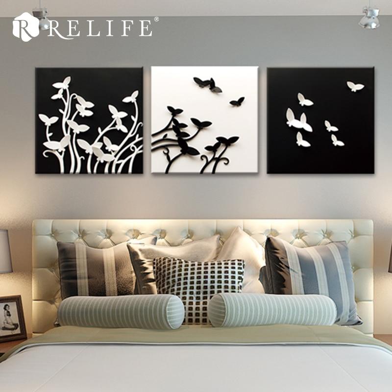 3 pièces Papillon Volant Résine Sculpté Peintures Murales Décor À La Maison Art Décoratif Photos pour Salon