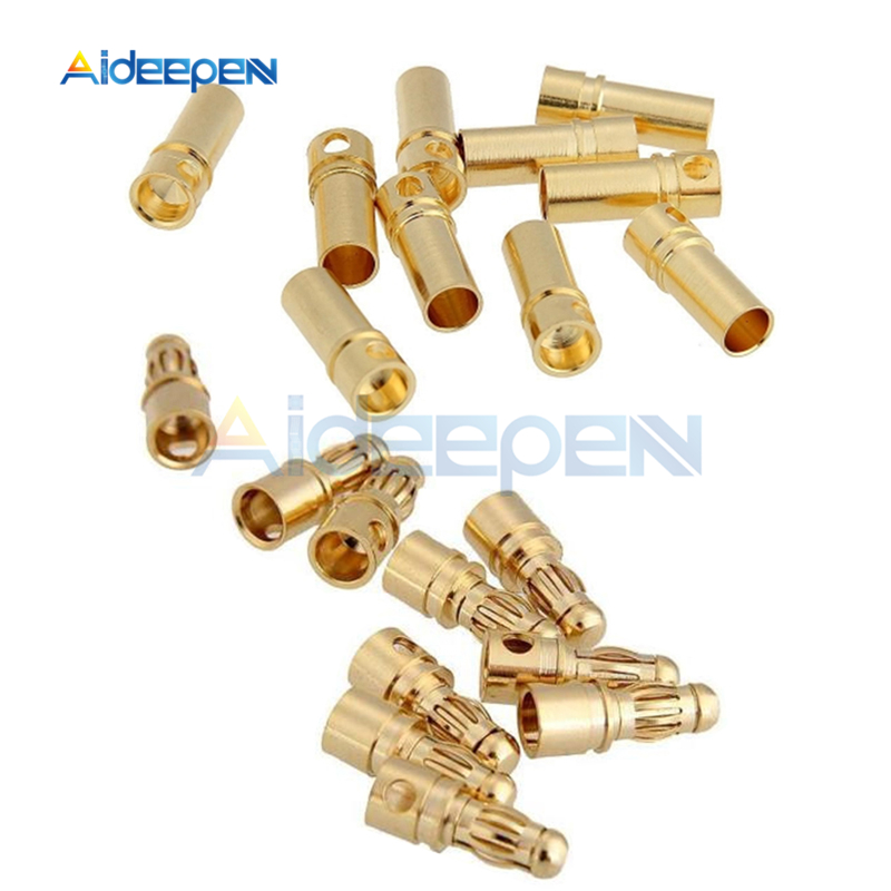 20PCS 10Pairs 3.5mm Gold Plated Male/&Female Bullet Banana Plug Connector