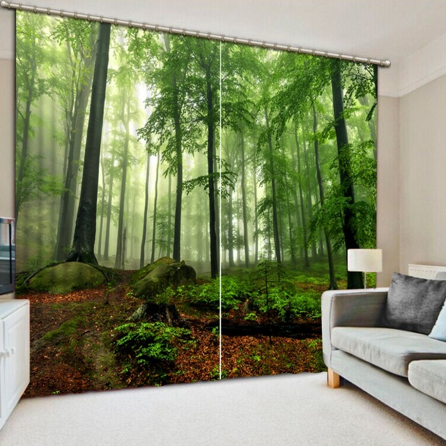 Modern Curtains For Living Room Photo Forest Landscape Cotton Window Blackout D Green Curtain
