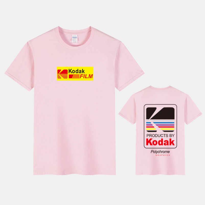 100% Kapas Merek T-shirt 2019 Musim Panas Pria Lengan Pendek Leher O Kodak Dicetak Longgar Slim T Shirt Pria Baju Atasan Wanita tee