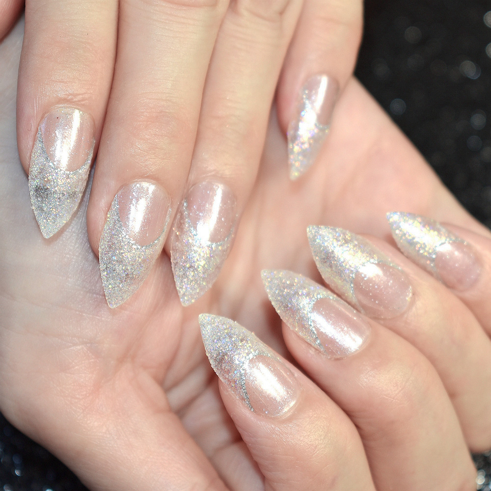 BlingBling Clear French Nail Design Kit Glitter Decorations Point ...