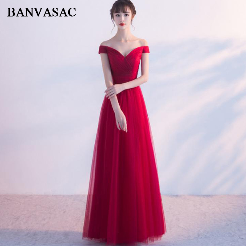 BANVASAC 2018 V Neck Lace Short Sleeve A Line Long Evening Dresses Elegant Party Tulle Pleat Backless Prom Gowns